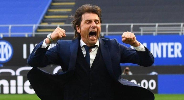 O delírio de Antonio Conte ao final do prélio da Inter contra o Verona, 1 X 0