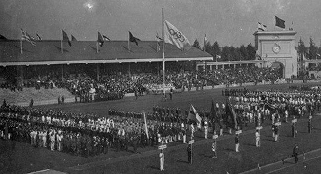 A estréia da bandeira, em Antuérpia 1920