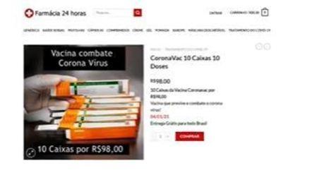 Anúncio falso de venda de vacina contra covid-19