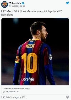 Anúncio oficial do Barcelona em sua página oficial no Twitter.