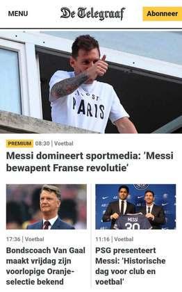 Ao lado de Van Gaal, Messi ganha destaque no De Telegraaf, da Holanda, no dia de sua apresentação