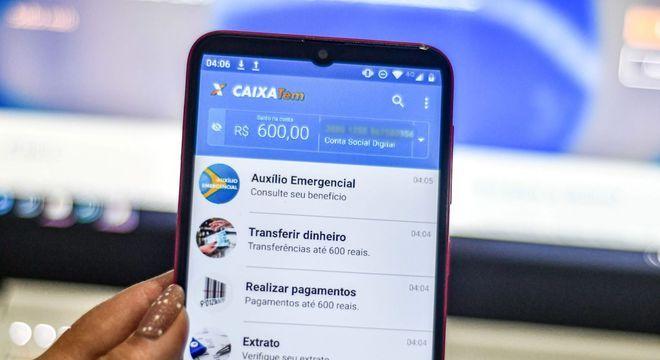 Aplicativo da Caixa com a aprovação do auxílio emergencial liberado pelo governo