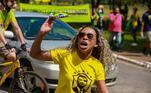 Protesto contra o STF que devolveu os direitos políticos ao Presidente Lula, realizado na cidade de Brasília, DF, neste domingo, 14.