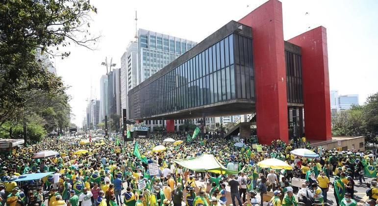 Apoiadores do presidente Jair Bolsonaro na Avenida Paulista, em SP