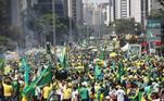 Apoiadores do presidente Jair Bolsonaro tomam a Avenida Paulista, em SP