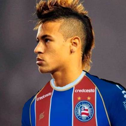 Apoio na web: Neymar de moicano vestindo a camisa do Bahia