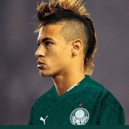 Apoio na web: Neymar de moicano vestindo a camisa do Palmeiras