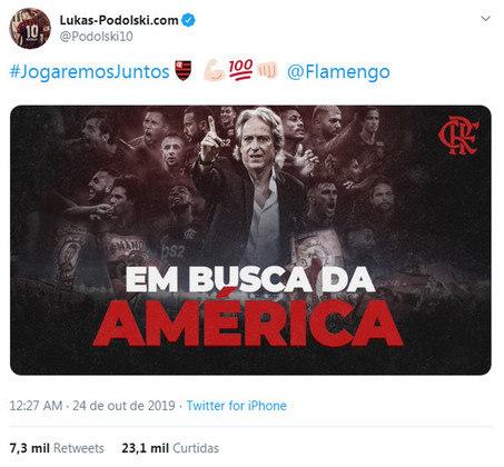Após a goleada do Flamengo sobre o Grêmio na semifinal da Copa Libertadores 2019, o jogador declarou mais uma vez seu apoio ao Rubro-Negro em sua rede social. Ele, novamente, demonstrou o seu carinho pelo clube e reacendeu a esperança do torcedor em um dia contar com o alemão em seu elenco.
