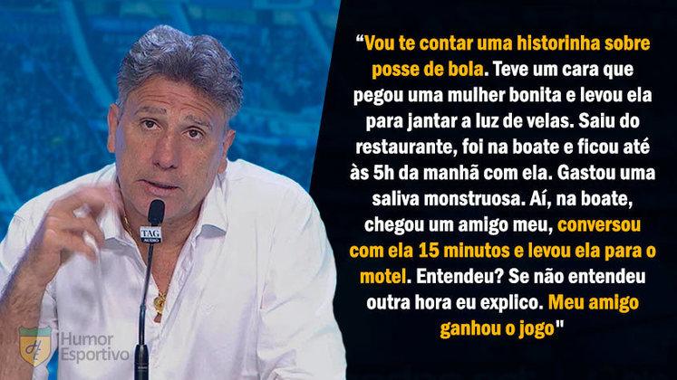 Após garantir vaga na final da Copa do Brasil 2020, Renato ironizou a maior posse de bola do São Paulo fazendo uma comparação inusitada