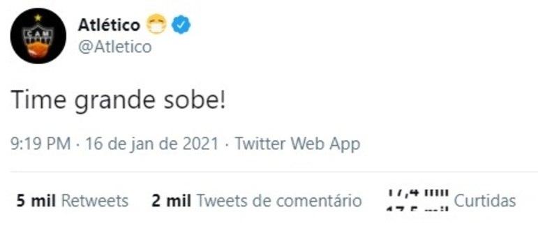 Após o apito final do jogo com o Juventude, o Atlético-MG usou as redes sociais para provocar o Cruzeiro
