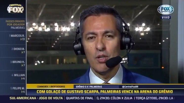 Após partida entre Grêmio e Palmeiras pela Libertadores de 2019, áudio de Nivaldo Prieto acabou vazando na transmissão do Fox Sports: