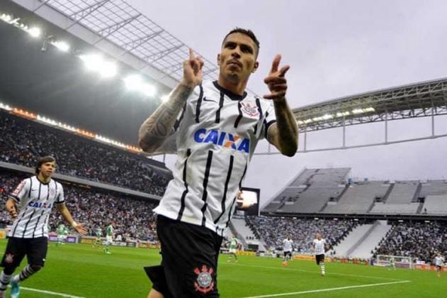 Após passar 2013 na segunda divisão, o Palmeiras retornou a elite do futebol brasileiro no ano seguinte. No primeiro encontro com o arquirrival na nova casa corintiana, em Itaquera, o Timão venceu com propriedade, gols marcados por Guerrero e Petros.