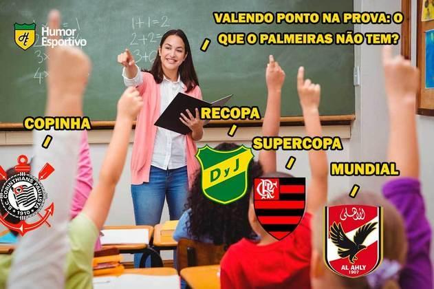 Após perder a Supercopa do Brasil para o Flamengo no último domingo, o time comandado por Abel Ferreira foi derrotado, novamente nos pênaltis e no Mané Garrincha, pelo Defensa y Justicia. Nas redes sociais, rivais não perdoaram nas provocações. Veja os memes! (Por Humor Esportivo)