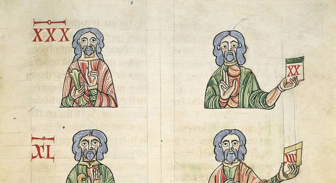 """Aprendendo a contar com os dedos, miniatura de """"De Numeris"""" de Rabano Mauro, manuscrito, Itália do século 11"""
