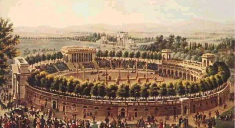 Um antigo cartão postal com uma imagem da Arena Cívica no Século XVIX
