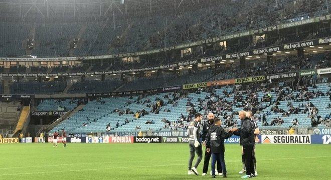 Visão da Arena do Grêmio, um público medíocre