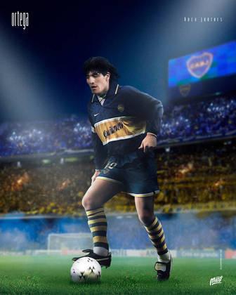 Ariel Ortega, ídolo do River Plate, usando a camisa do rival Boca Juniors.