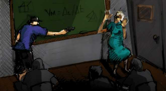 Em fevereiro, um aluno de 12 anos foi flagrado com um revólver em uma escola