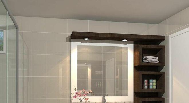 armário de banheiro com gabinete e nichos de madeira