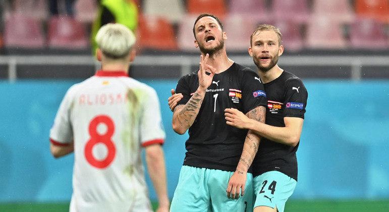 Arnautovic fez terceiro gol da vitória da Áustria sobre a Macedônia, pela Eurocopa 2020