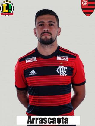 Arrascaeta - 5,5 - O uruguaio esteve apagadíssimo e passou longe de ser produtivo. Ficou evidente que o Flamengo sentiu falta da criatividade do camisa 14 para quebrar a última linha tricolor.