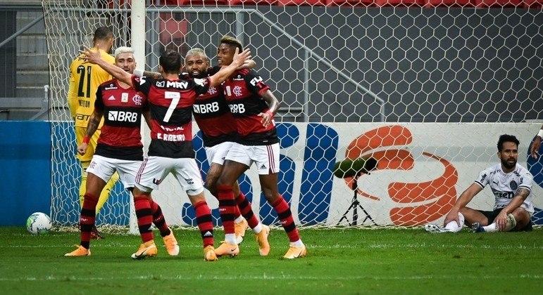 Jogadores do Flamengo comemoram gol contra de Luan, zagueiro do Palmeiras