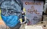 Arte de rua com temática do coronavírus em Nairóbi, Quênia