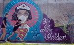 Arte de rua com temática do coronavírus em Hamm, Alemanha