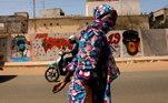 Arte de rua com temática do coronavírus em Dakar, Senegal