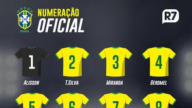 CBF divulga numeração da seleção brasileira para a Copa do Mundo c5f7ff31473b9