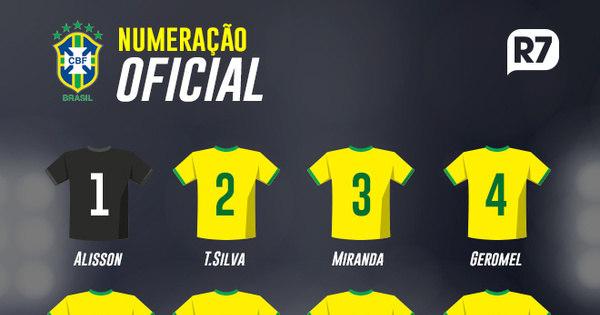 CBF divulga numeração da seleção brasileira para a Copa do Mundo - Esportes  - R7 Copa 2018 24f7cac343c16