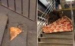 O artista performáticoJonothon Lyons reproduziu em 'escala humana' o meme do rato que abocanhou uma pizza, anos atrás, em uma estação de metrô de Nova York