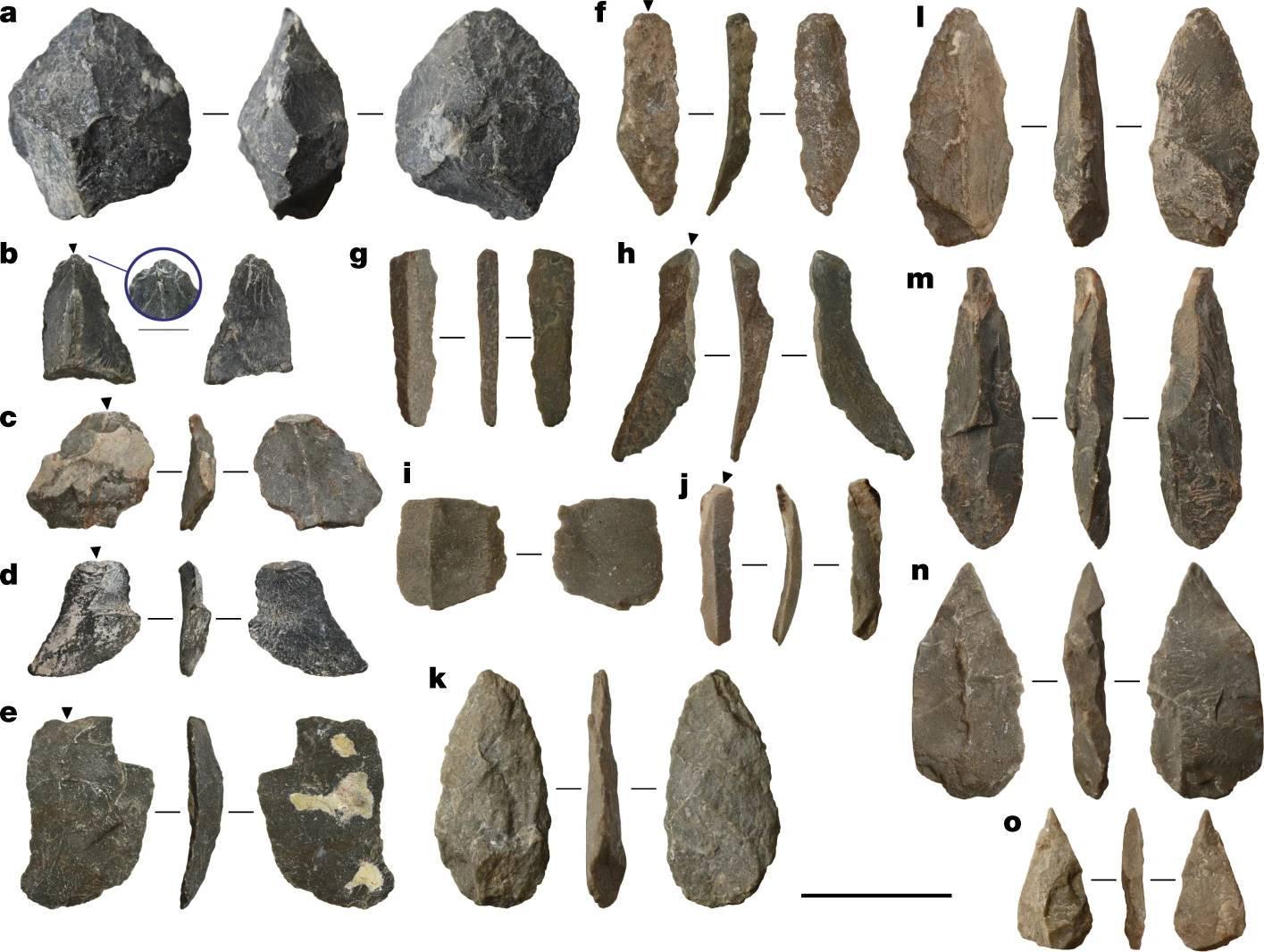 Artefatos encontrados no sítio da Caverna Chiquihuite