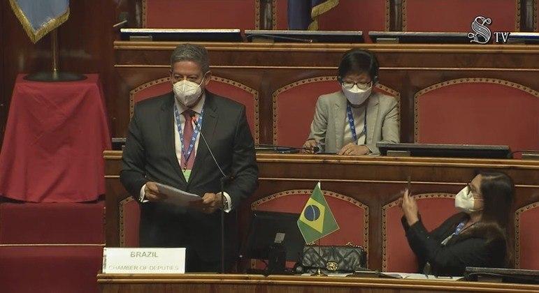 Arthur Lira discursou na 7ª Cúpula de Presidentes dos Parlamentos do G20