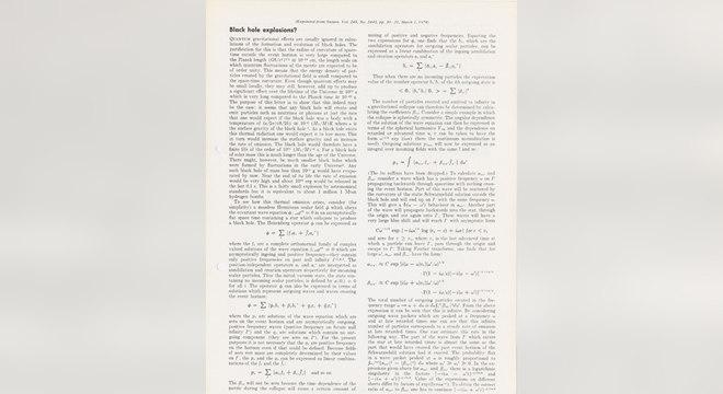 Um artigo escrito por Hawking em 1974 também irá a leilão