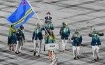 A equipe de Aruba representou no Estádio Olímpico