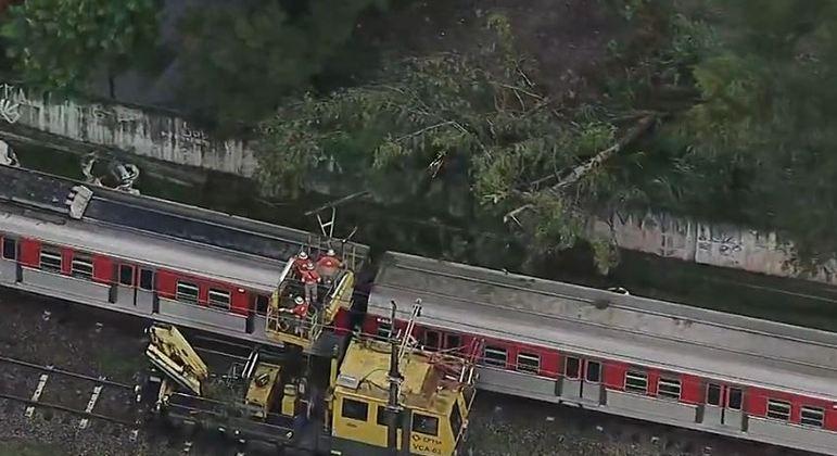 Técnicos da CPTM tentam remover a árvore sobre a rede aérea na linha 8-Diamante