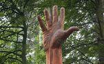 """Em sua rede social, ele contou o início de sua saga: """"Eu descobri que a árvore mais alta do País de Gales havia sido danificada pela tempestade e seria derrubada, e a responsável pelo local iria contratar um artista para esculpir a árvore""""LEIA MAIS:Se chama Jabba! Mulher faz amizade com sapo que mora no tênis dela"""