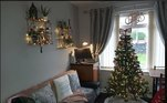 Nia Hughes, do Reino Unido, decidiu decorar sua casa hoje, adicionando decorações a todas as superfícies e uma grande saia cinza para árvores