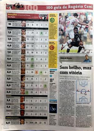As atuações dos jogadores do São Paulo e o dez de Rogério Ceni, nota que o jornal raramente atribuiu em seus mais de 20 anos história. A página também inclui a