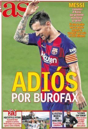 AS (Espanha) – 'Adeus por burofax' estampa a capa, que ainda diz que o clube catalão pediu a permanência do argentino.