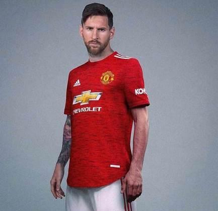 As montagens com Messi no Manchester United fizeram sucesso