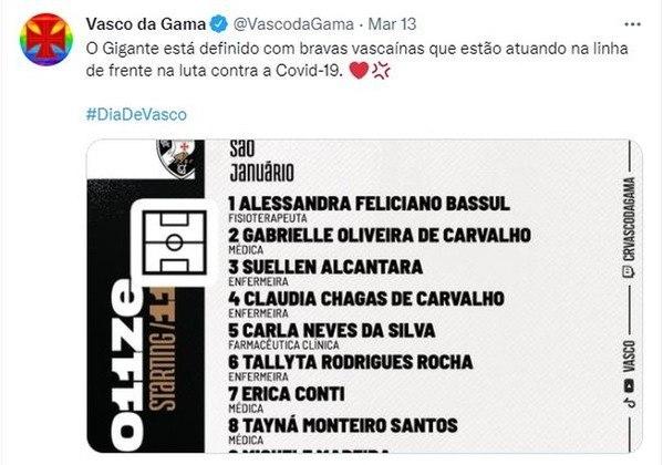 As mulheres também foram representadas nesta época de pandemia global de Covid-19. Em um jogo diante do Nova Iguaçu, as profissionais da área da saúde, que trabalham no clube foram homenageadas e tiveram seus nomes divulgados na escalação do Vasco.