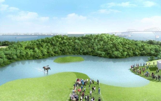 As provas de hipismo cross country acontecerão no Sea Forest Cross-Country Course. O local, que também fornece vista para a Baía de Tóquio, receberá uma estrutura temporária para isso.