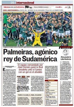 AS - Um dos principais jornais da Espanha dedicou uma página ao campeão da Libertadores.