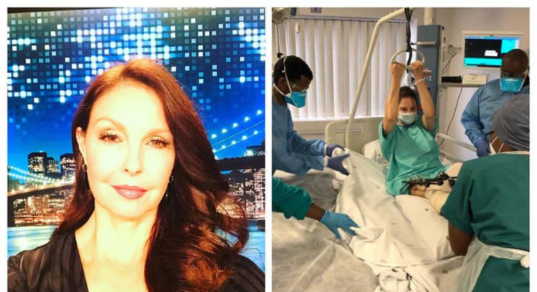 Ashley Judd ainda se recupera da queda, e já conta com a ajuda de fisioterapeutas