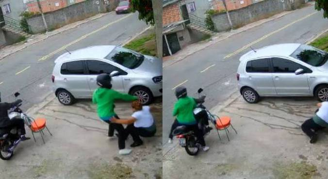Câmeras da rua registraram ação dos assaltantes