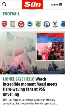 Assim como o Olé, o The Sun também destaca a linda festa dos fãs do PSG para receber o camisa 30