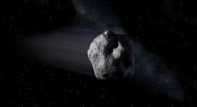 Asteroide próximo à Terra, como o 2020 SW, viajando pelo espaço