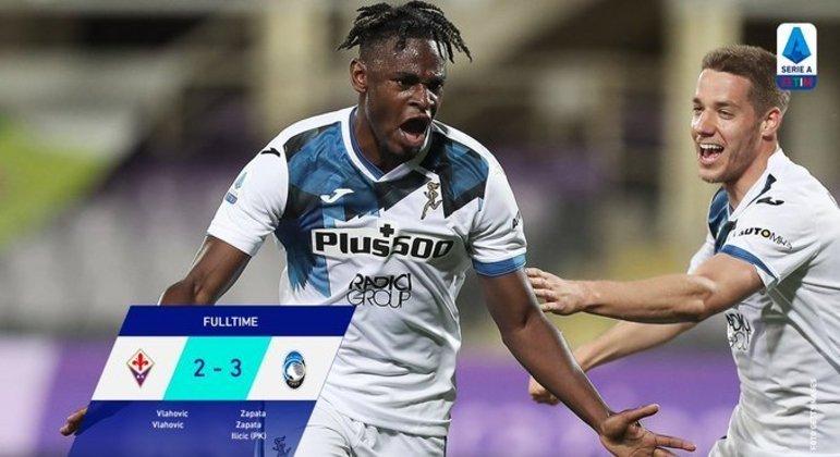 Duván Zapata, dois dos 3 X 2 da Atalanta sobre a Fiorentina